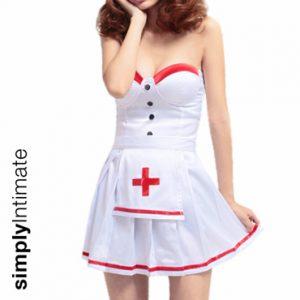 Notti Nurse bustier mini dress with contrast trim
