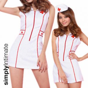 Notti Nurse mini dress with zipper front & toy stethoscope