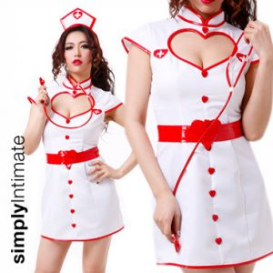 Heart Attack Nurse fitted dress with cut-out neckline & belt set