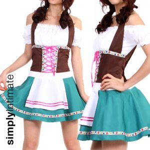 Oktoberfest Bavarian Maiden halter off shoulder mini dress