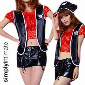 Pirates Booty satin peasant top, vest & PVC shorts set