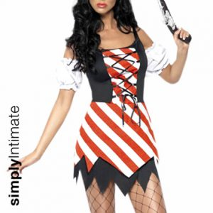 Pirates Booty striped mini dress with jagged hem & laced up front