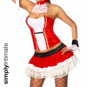 Pirate Booty velvet corset with mini skirt & hat set
