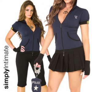 Arresting Officer crop top with hoodie 2-in-1 set