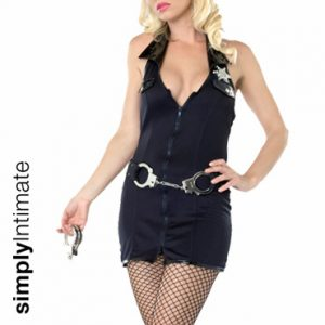 Kinky Sergeant mini dress with zipper front set
