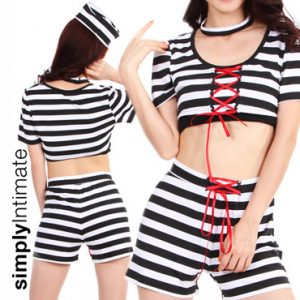 Sassy Jail Bait stretch crop top with shorts set