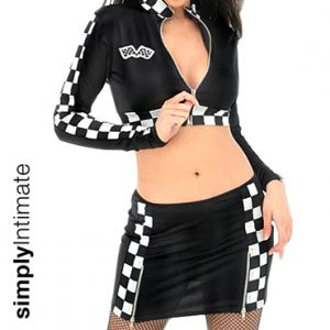 Racer crop top with mini skirt