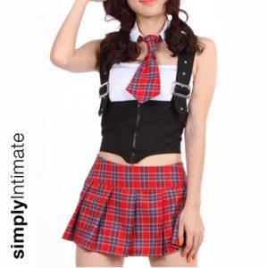 School Belle Hottie bandeu top with suspender vest & plaid skirt set