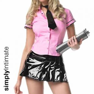 School Belle button front shirt with vinyl skirt & tie