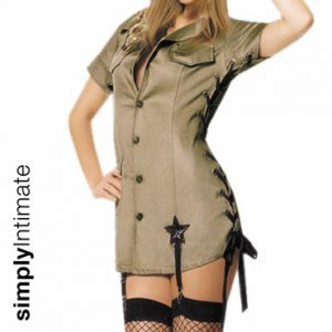 Boot Camp Teaser mini dress with lace-up sides & hat