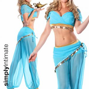 Genie In A Bottle crop top & harem pants set with genie lamp