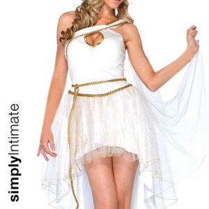 Grecian Goddess toga dress with layered dip hem & winged headband set