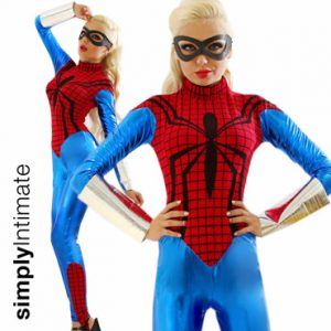 Sexy Spidey metallic jumpsuit with eyemask set