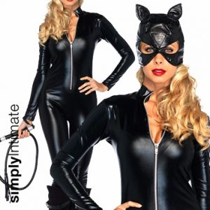 Vixen Catwoman hi-gloss jumpsuit with head mask & whip set