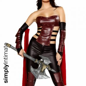 Scandalous Trojan Warrior studded leatherette top & legging with battle axe (4pc set)