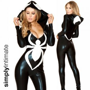 Black Widow Villian hi-gloss hooded jumpsuit with spider print