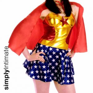 All Star Wondergirl bandeau mini dress with cape set