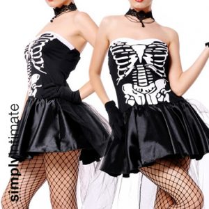 Freaky Bones Mistress satin bandeau dress with puffy skirt & tulle train set
