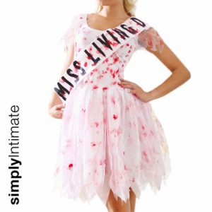 Drop Dead Gorgeous Zombie bloody prom dress with tattered hem & sash