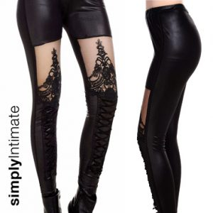 Stretch leatherette leggings with lace & lace-up accent