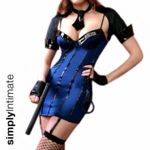Arresting Officer fitted bustier dress with vinyl trim & crop jacket set (8pc set)