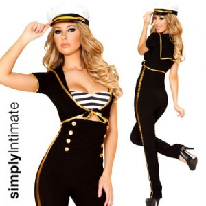 Captain Sail Away crop top with hi-waisted pants & hat set