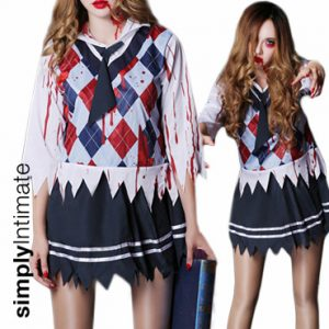 Back To School Zombie blood stained top & jaggered hem skirt set