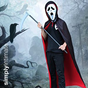 Soul Stealer reversible hooded cape, mask & toy sickle set