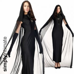 Dark Mistress long gown with mesh hooded cape set